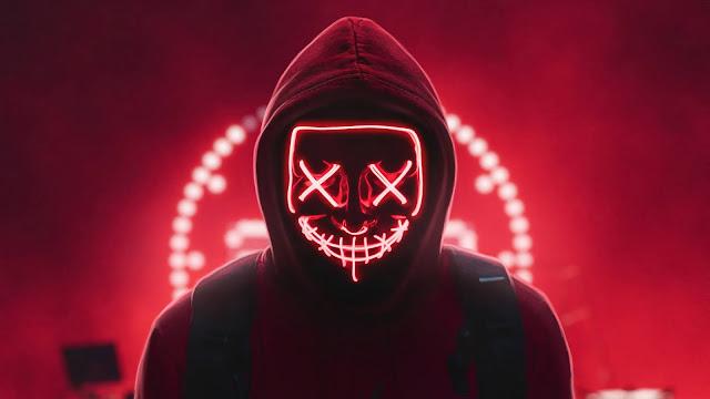 Hoodie Neon Mask Man 4k