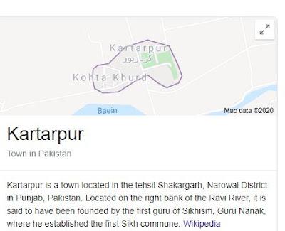Kartarpur location in pakistan map