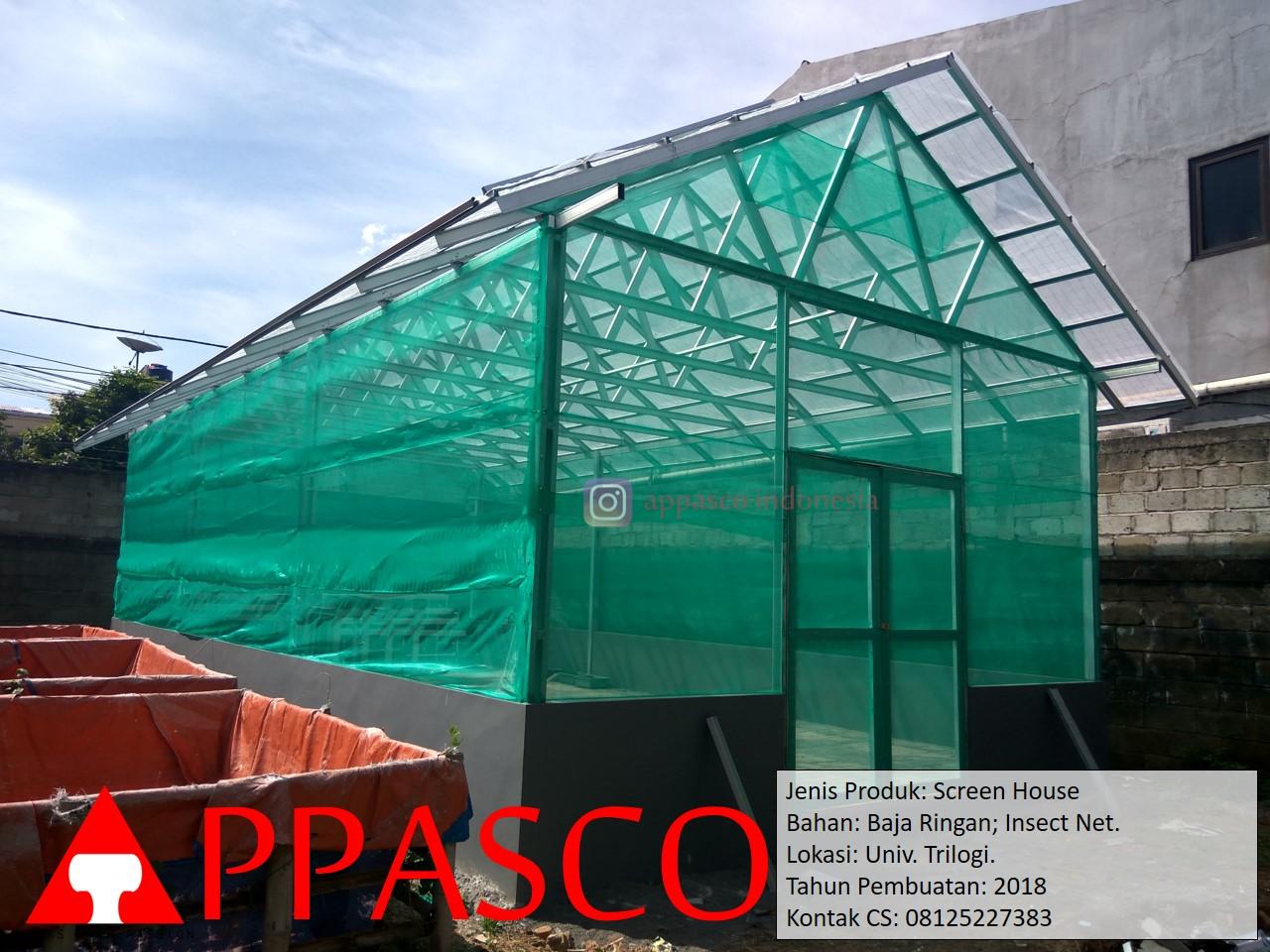 Screen House dengan Baja Ringan dan Insect Net Jaring Nyamuk di Universitas Trilogi