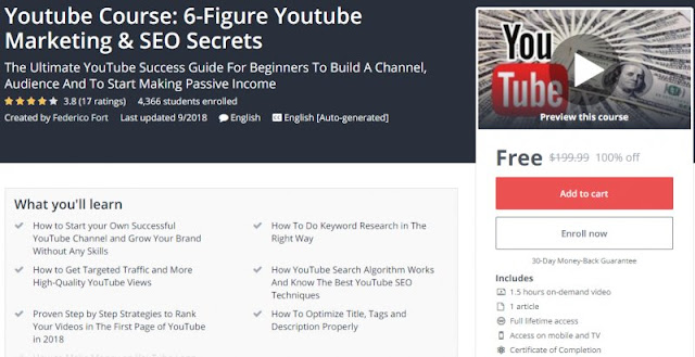 [100% Off] Youtube Course: 6-Figure Youtube Marketing & SEO Secrets| Worth 199,99$