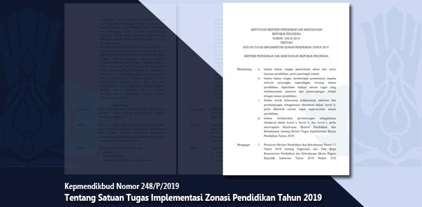Kepmendikbud Nomor 248/P/2019 Tentang Satuan Tugas Implementasi Zonasi Pendidikan Tahun 2019