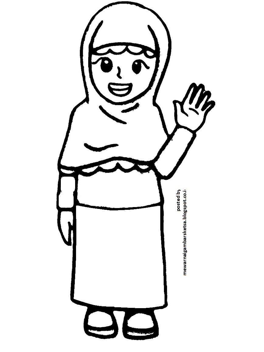 Mewarnai Gambar Sketsa Kartun Anak Muslimah 17 Di Depan Kelas