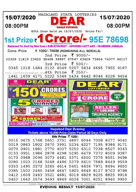 Nagaland State Lotteries 15-07-2020 Lottery Sambad Result 8:00 PM