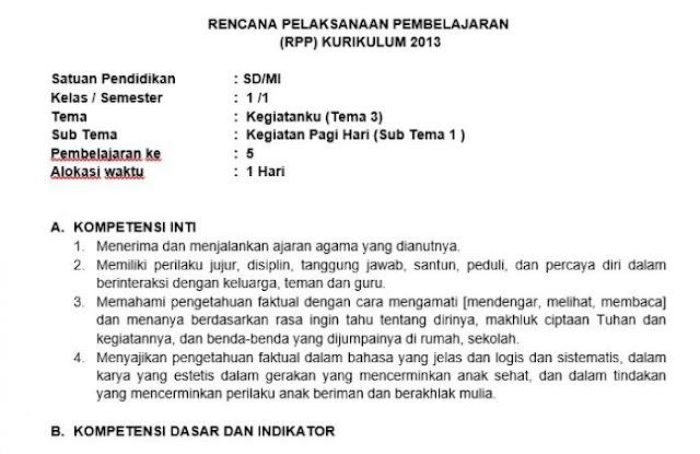 File Pendidikan RPP Kelas 1 Semester 1 Kurikulum 2013 Revisi