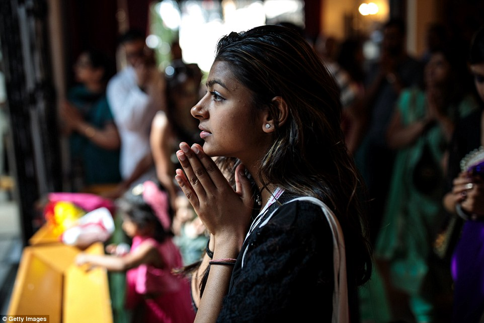 Prayer sessions also took place on Sunday as Hindu people from across Britain gathered in Watford