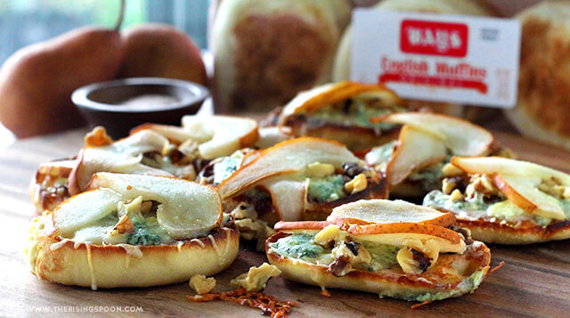 Gorgonzola Pear English Muffin Pizzas (Easy Appetizer)