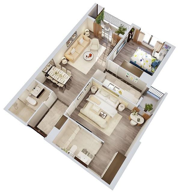 Thiết kế căn 2 phòng ngủ Imperia Sky Garden