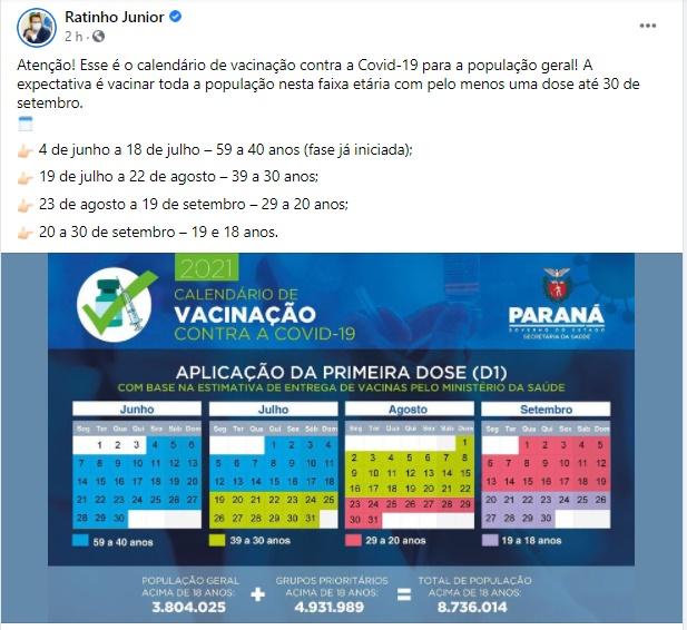 """Secretário de Saúde de Roncador fala sobre publicação do governador Ratinho Júnior: """"Homem mentiroso. Enquanto não mandar a vacina, será sempre um fake. Só politicagem!""""."""