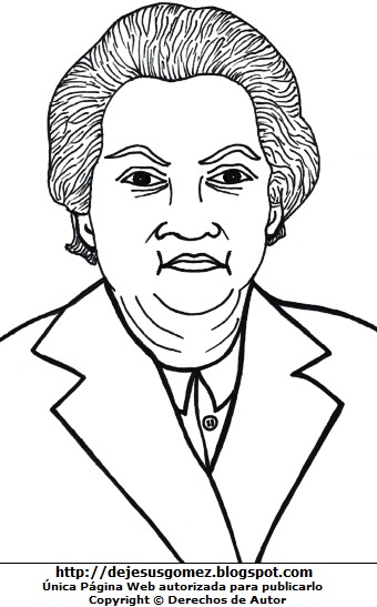 Imagen de Gabriela Mistral para dibujar colorear pintar. Dibujo de Gabriela Mistral de Jesus Gómez