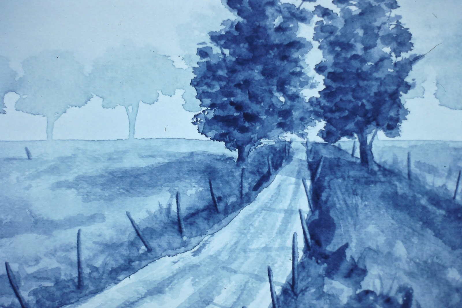 Back road near Laurencekirk, Angus, Scotland  7x10 inches. Ink wash on paper, c. 1990.  In a private collection in Brechin, Scotland
