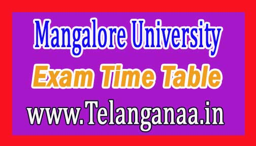Mangalore University B.P.Ed Ist & IIIrd Sem (New Syllabus)  2016 Exam Time Table