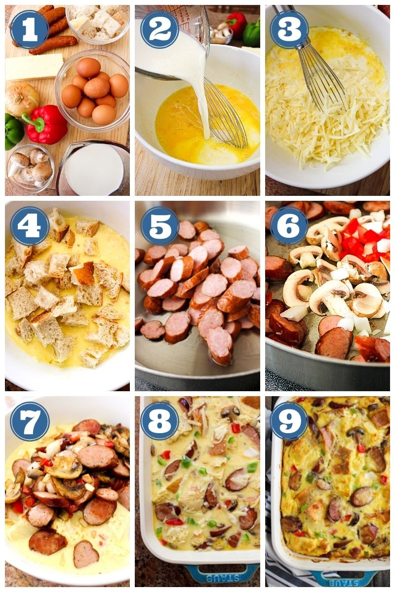 Collage of images showing Bratwurst and Cheddar Breakfast Casserole being made.