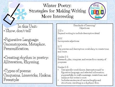 Winter poetry and figurative language lesson: Cinquains, limericks, haikus, freestyle poetry