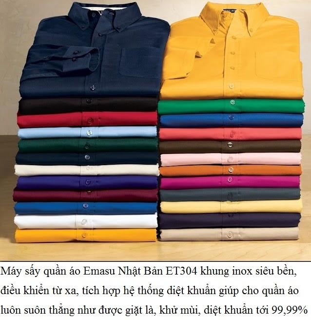 Máy sấy quần áo Emasu Nhật Bản ET304 giúp cho quần áo suôn thẳng sau khi sấy