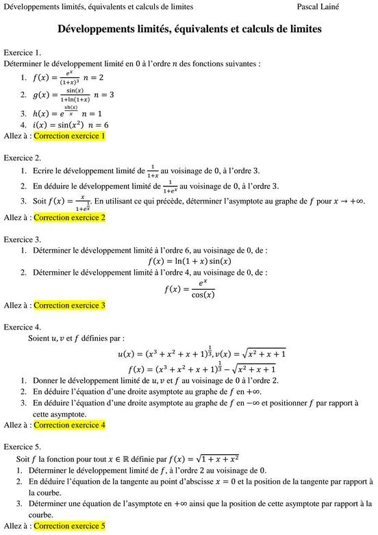 exercices corrigés développements limités et calculs de ...