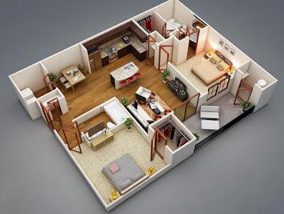 Contoh Desain Interior Rumah Tipe 36 Luas 60 Modern Minimalis