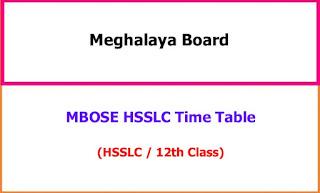 Meghalaya HSSLC 12th Class Exam Time Table 2021