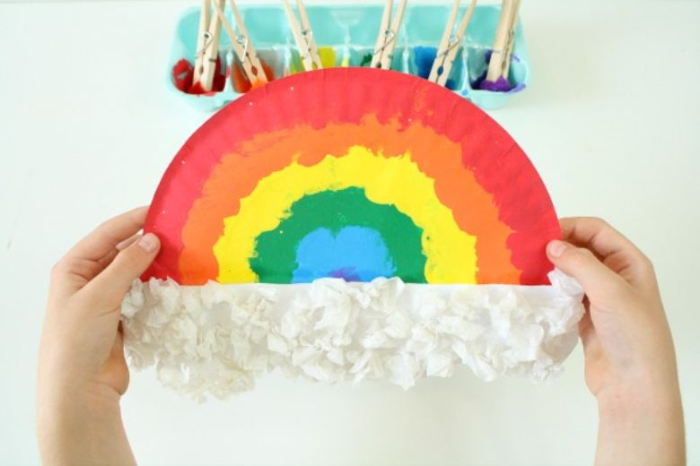 St Patricks day crafts for preschoolers - pom pom painting rainbow