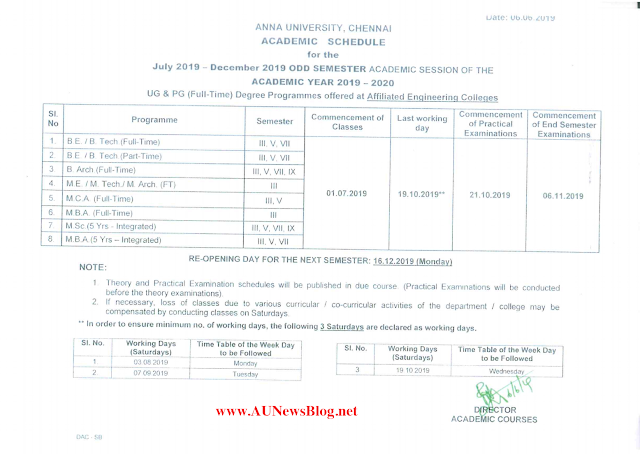 Anna University Academic & Internal Assessment Schedule Nov Dec 2019