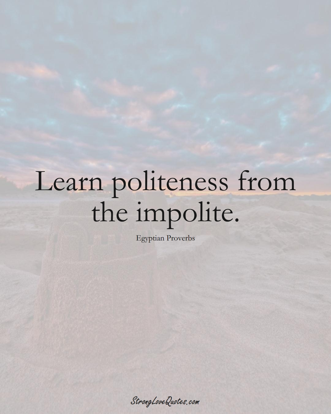 Learn politeness from the impolite. (Egyptian Sayings);  #MiddleEasternSayings