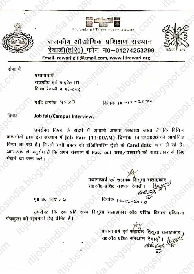 Campus Interview Jobs Fair in Govt ITI Rewari, Haryana on 14 December 2020 For ITI Haryana Candidates