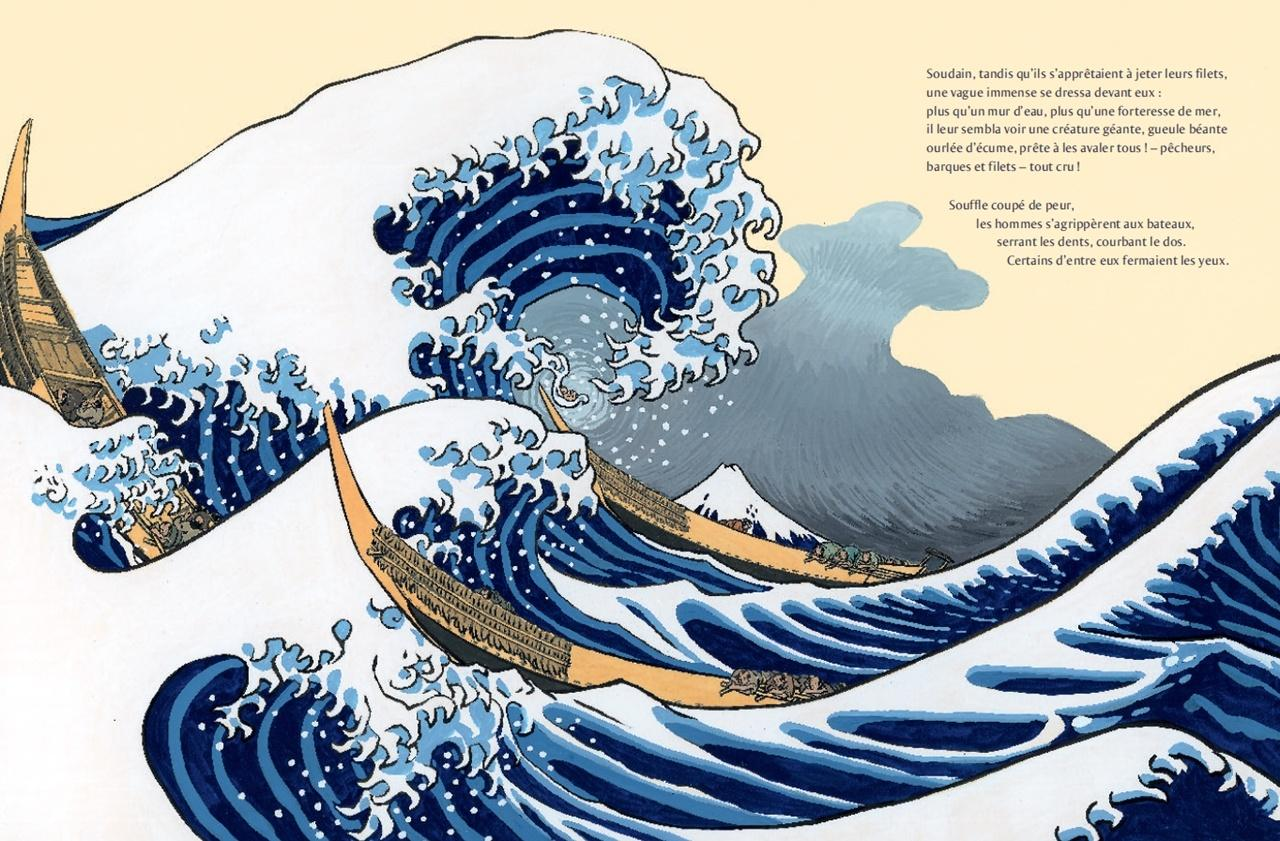 çizgili masallar: The Great Wave: A Children's Book Inspired by Hokusai by Bruno Pilorget