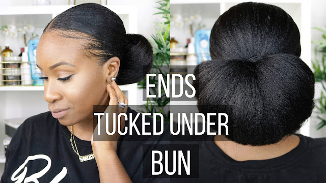 Video Ends Tucked Under Protective Style Bun Relaxed Hair Hairlicious Inc