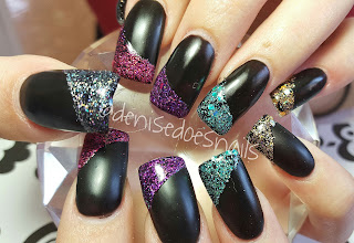 matte black with glossy glitter nail art