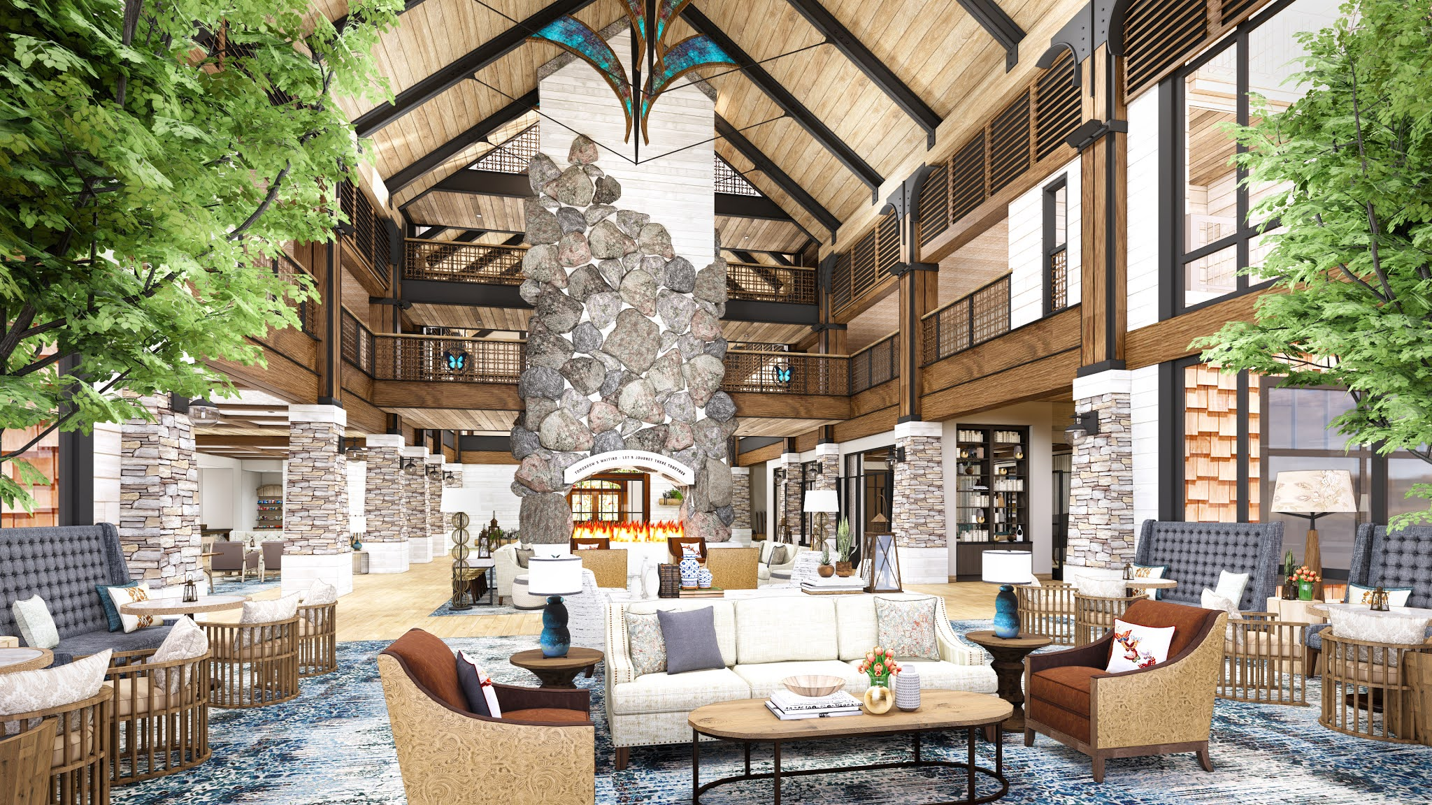 HeartSong Lodge & Resort- Fireplace- Dollywood's HeartSong Lodge & Resort welcomes the outdoors inside with high ceilings, exposed beams and natural layered textures. These lovely touches are inspired by the beauty of the Smokies.