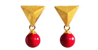 koralle gold ohrring earrings