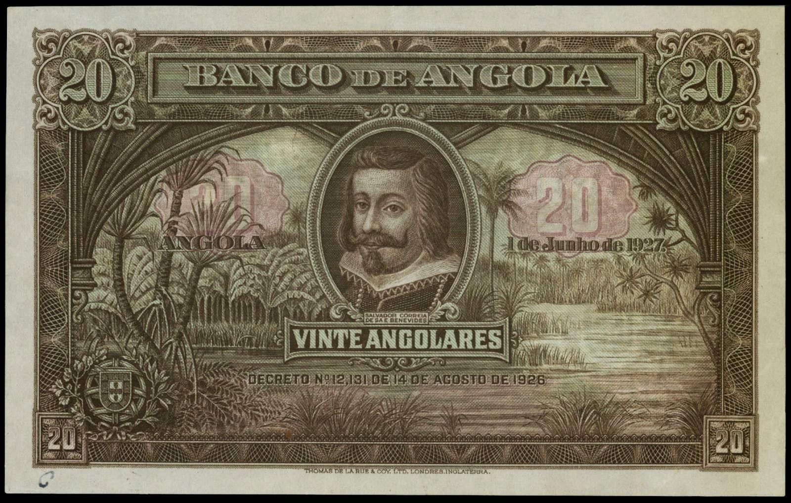 Angola 20 Angolares banknote 1927 Salvador Correia