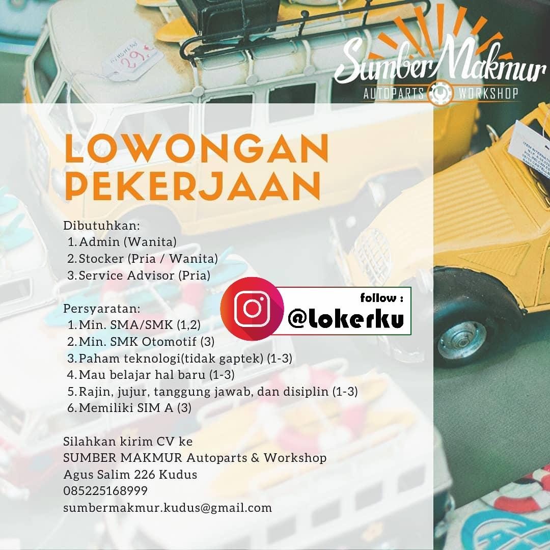 Info Loker Kudus Sebagai Admin, Stocker, Service Advisor di Sumber Makmur Autoparts & Workshop Kudus