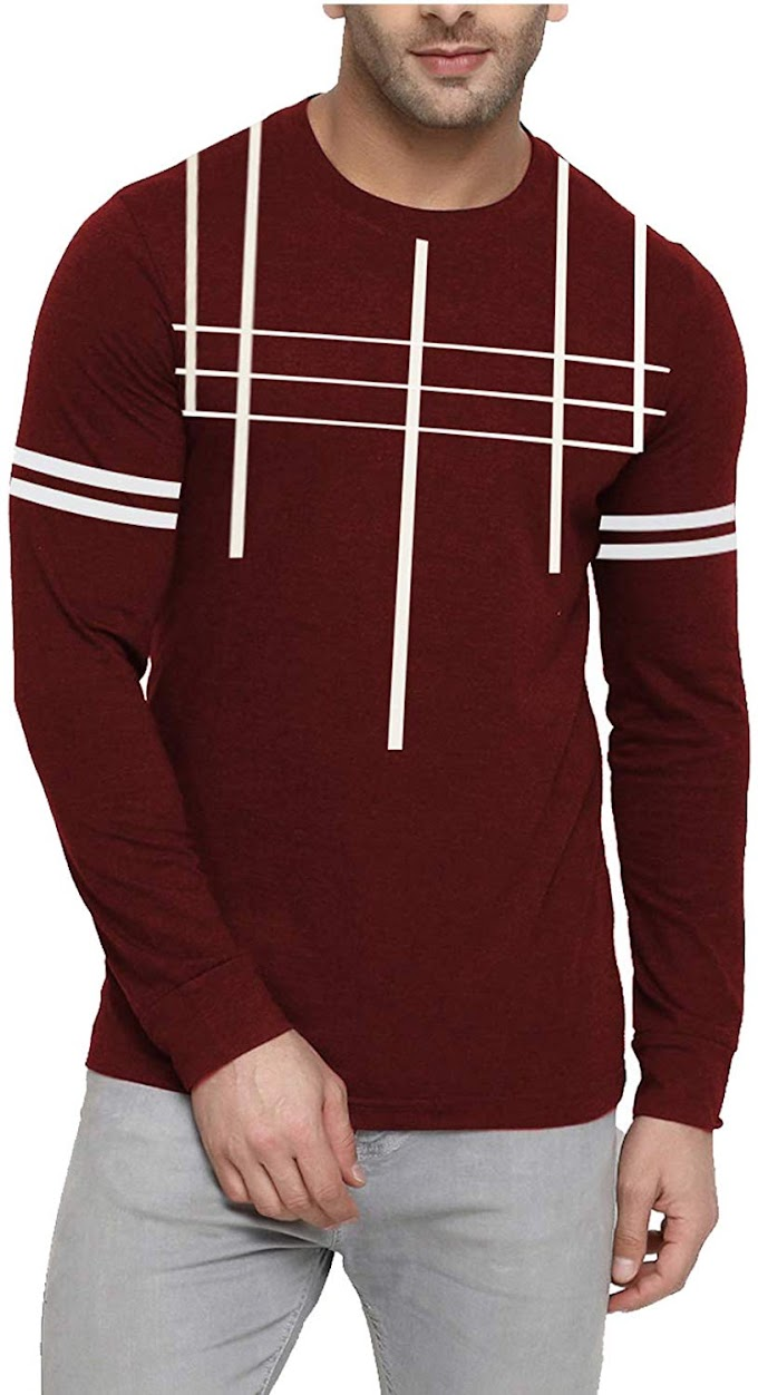 THE ARCHER Men's Round Neck Full Sleeve Maroon Printed T Shirt (Large)