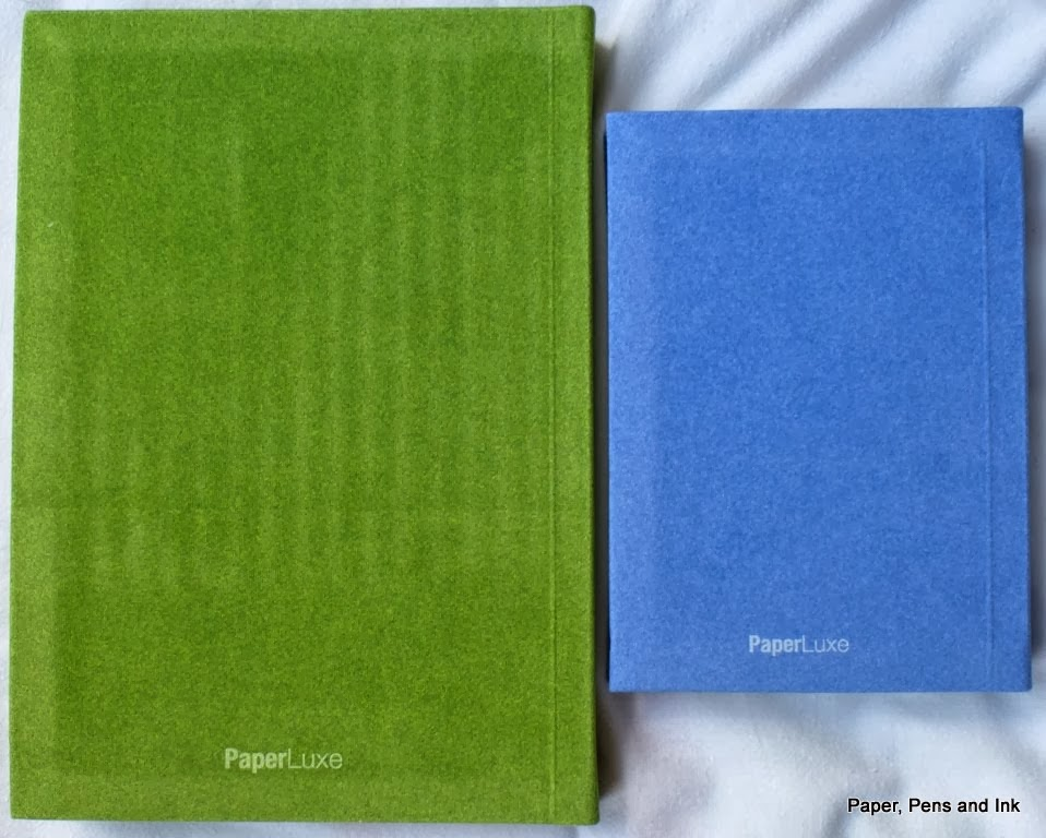 paper pens ink review of paperluxe deja vu notebook green a5 and blue a6 plastic film and label removed back