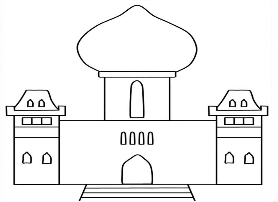 Kumpulan Gambar Mewarnai Masjid Untuk Anak Paud Dan Tk Islami Anak Sd Islami Kangdidik