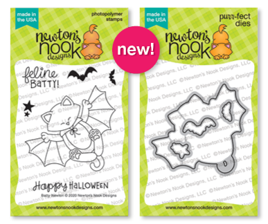 Batty Newton | Cat in Halloween Bat Costume Stamp Set by Newton's Nook Designs #newtonsnook