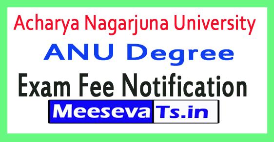 Acharya Nagarjuna University ANU Degree Exam Fee Notification 2018
