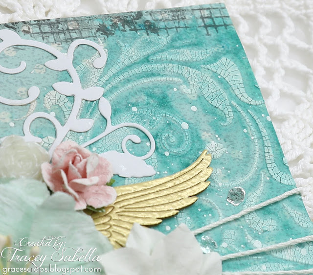 """Fly"" Mixed Media Card by Tracey Sabella for Scrap & Craft: #studio75 #craftoclock #scrapiniec #agateria #Finnabair #Primamarketing #handmadecard #mixedmedia #mixedmediacard #shabbychic #shabbychiccard #papercrafting #flowercard #chipboard #lindysgang #lindysstampgang #helmar #timholtz #stampendous #spellbinders"