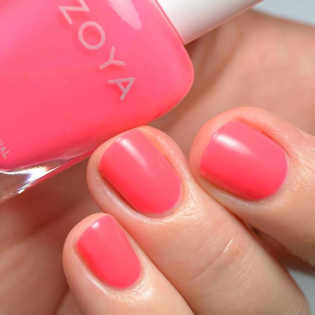 matte neon salmon nail polish swatch
