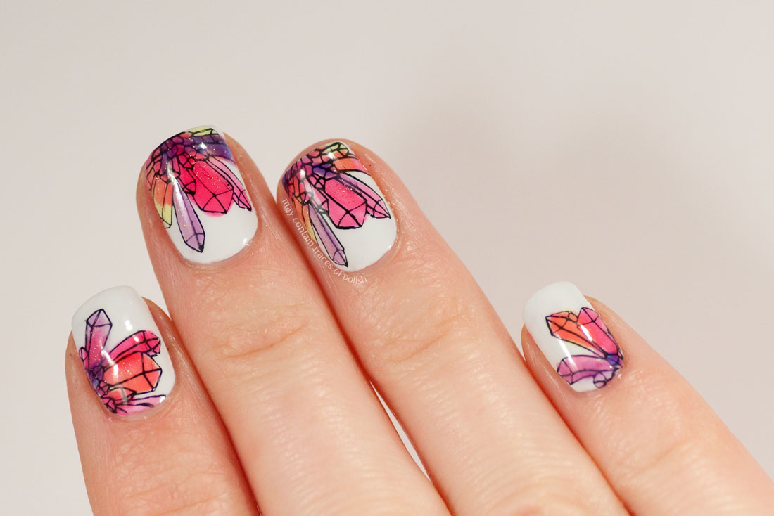Colorful crystal nail art