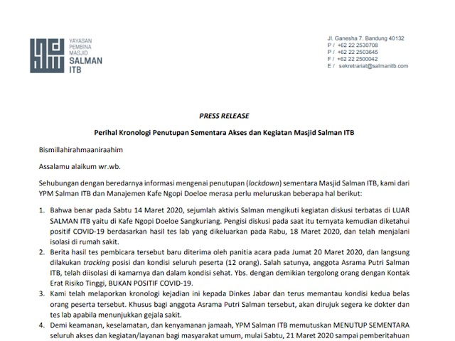 Perihal Kronologi Penutupan Sementara Akses dan Kegiatan Masjid Salman ITB