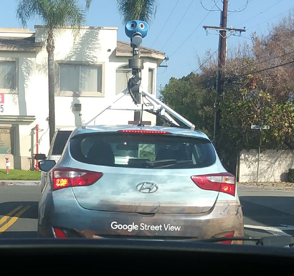 Driving behind a Google Street View car in West Covina, CA...on January 4, 2021.