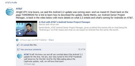 How to check for Android 2.2 Froyo update using dialer on AT&T HTC Aria