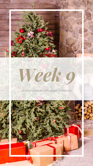Festive scene with Christmas tree and presents with Week 9 in the forefront