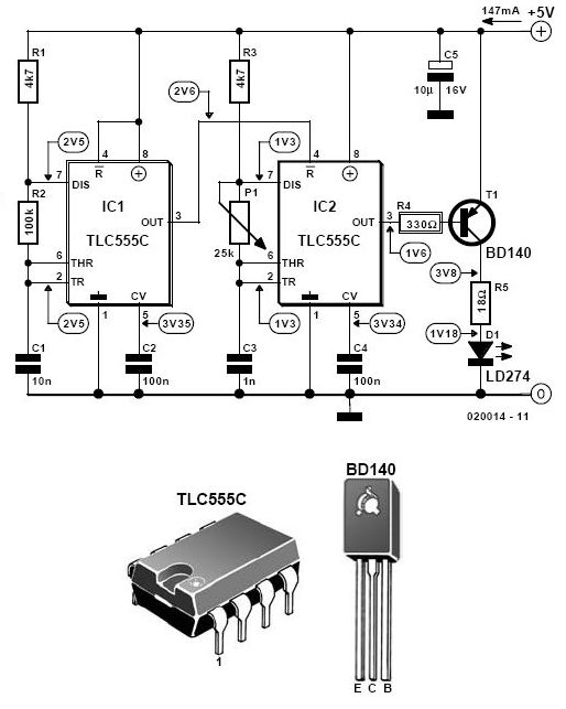 diy electronic projects  infrared light alarm transmitter circuit schematic