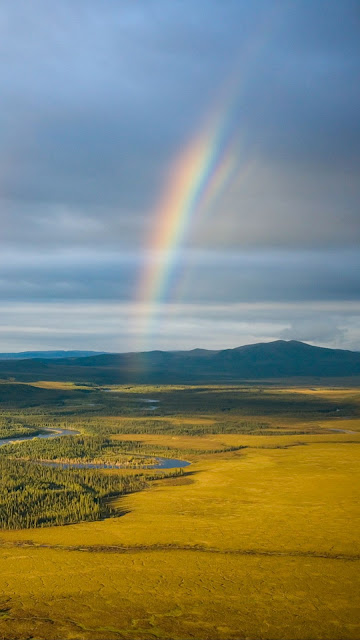 Wallpaper Rainbow Landacape, Grass Field, River