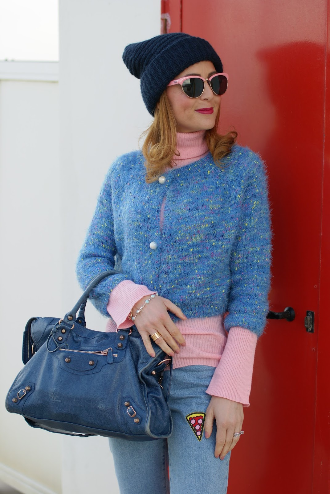 Mom patched jeans, pink turtleneck, wool beanie on Fashion and Cookies fashion blog, fashion blogger style