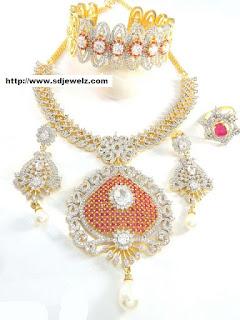 Cz studded Bridal jewelry set