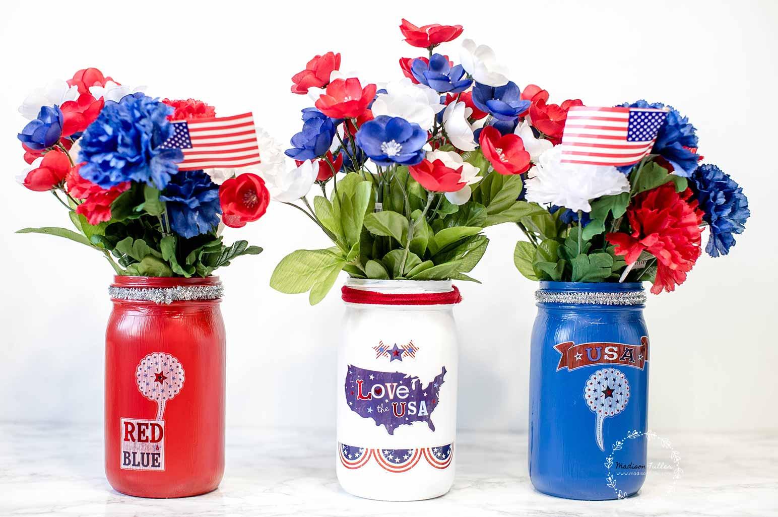 DIY 4th of July Mason Jar Vase