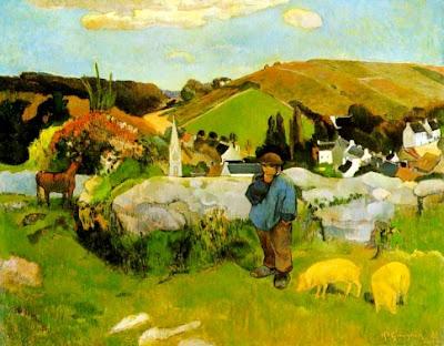 Foto a la pintura El guardián de cerdos, Bretaña de Paul Gauguin